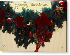 Wreath Garland Greeting Acrylic Print by DigiArt Diaries by Vicky B Fuller