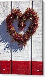 Wreath Heart On Wood Wall Acrylic Print by Garry Gay