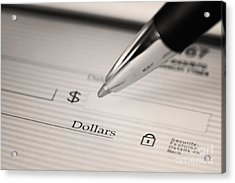Writing A Check Acrylic Print by Blink Images