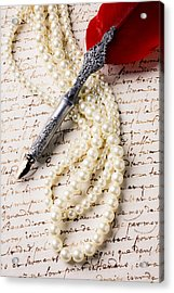 Writing Pen And Perals  Acrylic Print by Garry Gay