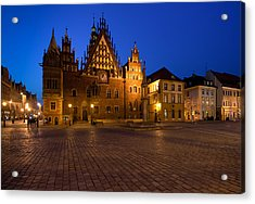 Wroclaw Town Hall At Night Acrylic Print by Sebastian Musial