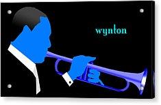 Wynton Marsalis Blue Acrylic Print by Victor Bailey