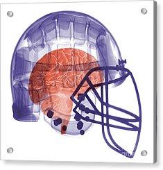 X-ray Of Head In Football Helmet Acrylic Print by Ted Kinsman