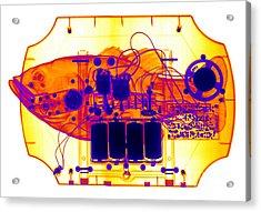 X-ray Of Mechanical Fish Acrylic Print by Ted Kinsman