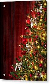 Xmas Tree On Red Acrylic Print by Carlos Caetano
