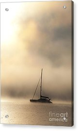 Yacht In Mist Acrylic Print by Avalon Fine Art Photography