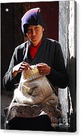 Yak Wool Sweater Weaver Acrylic Print by Marko Moudrak