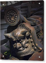 Yakushi-ji Temple Gate Gargoyle - Nara Japan Acrylic Print by Daniel Hagerman