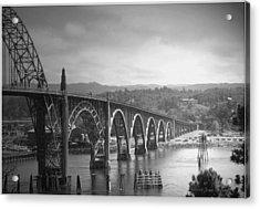 Yaquina Bay Bridge Oregon B And W Acrylic Print by Joyce Dickens