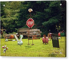 Acrylic Print featuring the photograph Yard Art Stop by Renee Trenholm