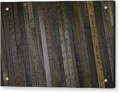 Acrylic Print featuring the painting Yardsticks - Aged 18 Inch Closer 1 by Kurt Olson