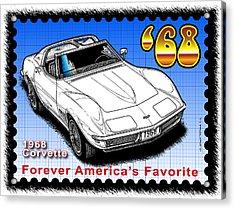 Year-by-year 1968 Corvette Acrylic Print