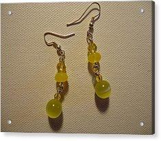 Yellow Ball Drop Earrings Acrylic Print