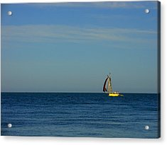 Yellow Boat On The Horizon Acrylic Print by Luis Esteves
