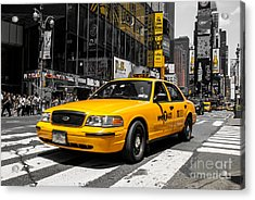 Yellow Cab At The  Times Square Acrylic Print by Hannes Cmarits