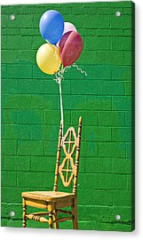 Yellow Cahir With Balloons Acrylic Print by Garry Gay