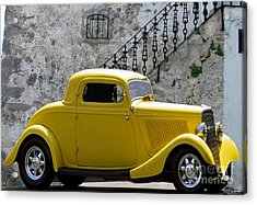 Yellow Coupe Hardtop Acrylic Print