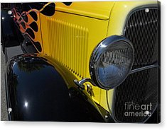 Yellow Flame Vintage Car Acrylic Print