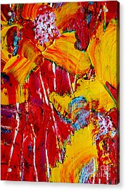Yellow Flowers On Red Acrylic Print