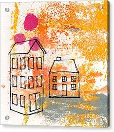 Yellow House Acrylic Print by Linda Woods