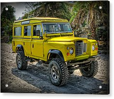 Yellow Jeep Acrylic Print by Adrian Evans
