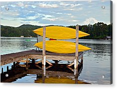 Yellow Kayaks Acrylic Print by Susan Leggett