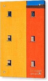 Yellow Orange Blue With Windows Acrylic Print by Silvia Ganora