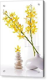 Yellow Orchid Bunchs Acrylic Print by Atiketta Sangasaeng