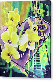 Yellow Orchids Of The Heart Acrylic Print by Kathy Braud