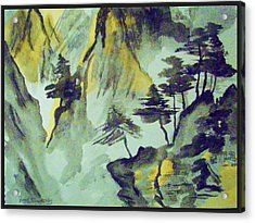 Yellow Orient Mountains Acrylic Print by Peggy Leyva Conley