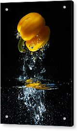 Yellow Pepper Escapes From Water Acrylic Print