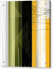 Yellow Rain Acrylic Print by Naxart Studio