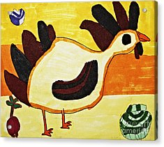 Yellow Rooster Still Acrylic Print by Stephanie Ward