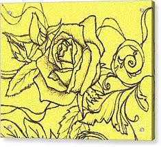 Yellow Rose Acrylic Print by Denise Hoag