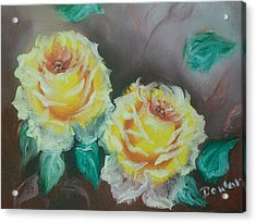 Yellow Roses Acrylic Print by Raymond Doward
