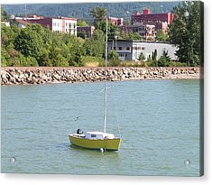 Acrylic Print featuring the photograph Yellow Sailboat At Bellingham Bay by Rand Swift