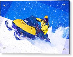 Yellow Snowmobile In Blizzard Acrylic Print by Elaine Plesser