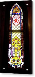 Yellow Stained Glass Window Acrylic Print by Thomas Woolworth
