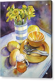 Yellow Still Life Acrylic Print by Susan Herbst