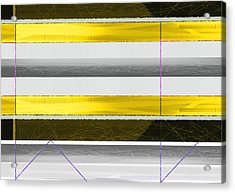 Yellow Stripes Acrylic Print by Naxart Studio