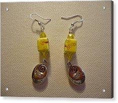 Yellow Swirl Follow Your Heart Earrings Acrylic Print