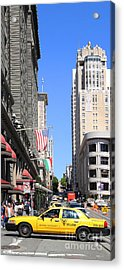 Yellow Taxicab Crossing Powell Street In San Francisco . 7d7259 Acrylic Print by Wingsdomain Art and Photography
