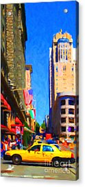 Yellow Taxicab Crossing Powell Street In San Francisco Acrylic Print by Wingsdomain Art and Photography