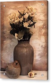Yellow Tinted Roses Acrylic Print by Marsha Heiken