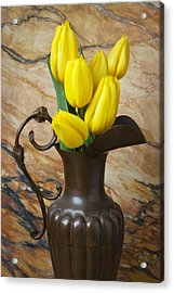 Yellow Tulips In Brass Vase Acrylic Print