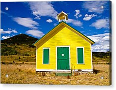 Yellow Western School House Acrylic Print by James BO  Insogna