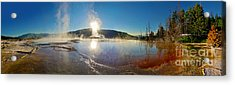 Yellowstone National Park - Minerva Terrace - Panorama Acrylic Print by Gregory Dyer