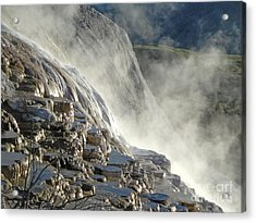 Yellowstone National Park - Minerva Terrace - Steam Acrylic Print by Gregory Dyer