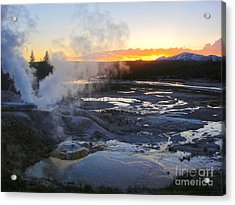 Yellowstone Norris Geyser Basin At Sunset - 03 Acrylic Print by Gregory Dyer