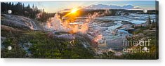 Yellowstone Norris Geyser Basin At Sunset Acrylic Print by Gregory Dyer